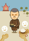Monk with bowl food Stock Photo