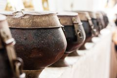 Monk bowl for making merit or donation Royalty Free Stock Photos