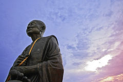 Monk buddha sculpture in prachupkerekhan, thailand.  Royalty Free Stock Images