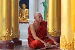Monk and Buddha in Shwedagon Royalty Free Stock Photo