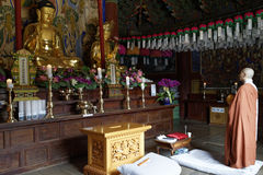Monk in Buddhist Temple Royalty Free Stock Photos
