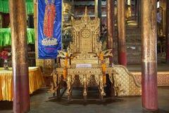 Monk chair at Nga Phe Chaung Monastery Myanmar Stock Photos