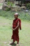 Monk child standing been cool. Burma Stock Image