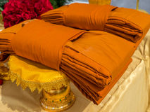 Monk cloths. Cloths to offer sacrifice to Buddhist monk Stock Photos