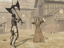 Monk defies armoured knight with cross and bible. Monk attempts to stop knight committing violence Stock Image