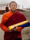 Monk at Do Drul Chorten Stupa Royalty Free Stock Photo