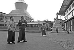 Monk at Do Drul Chorten Stupa. A group of apprentice Buddhist monk at Do Drul Chorten Stupa at Sikkim, India Stock Photos