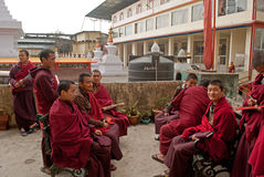 Monk at Do Drul Chorten Stupa. A group of apprentice Buddhist monk with their copy of Buddhist manuscript at Do Drul Chorten Stupa at Sikkim, India Stock Image
