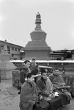 Monk at Do Drul Chorten Stupa. A group of apprentice Buddhist monk with their copy of Buddhist manuscript at Do Drul Chorten Stupa at Sikkim, India Stock Photo