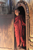Monk at the door of the monastery Royalty Free Stock Image