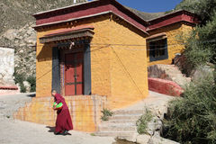 Monk at Drepung Monastery, Tibet Stock Image