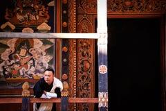 Monk at Dzong, Paro, Bhutan royalty free stock image