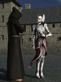 Monk and female knight in conversation. Robed and hooded monk in conversation with female armored knight in castle courtyard Royalty Free Stock Photography