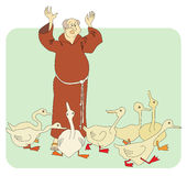 Monk and geese Royalty Free Stock Images