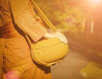 Monk go for alms in morning. royalty free stock image