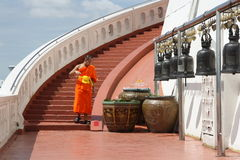 The monk and The Golden Mountain in Bangkok Royalty Free Stock Photos