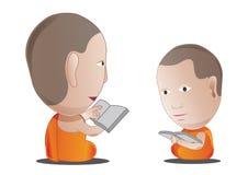 Monk guru teach student in Dharma subject, illustration ca Royalty Free Stock Photography