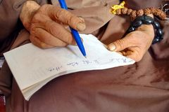 Monk Hands Writing Royalty Free Stock Images