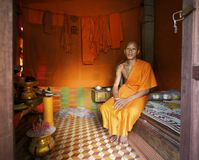 Monk at home in Cambodia Royalty Free Stock Photo