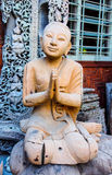 Monk image wood carved, Myanmar Royalty Free Stock Photos