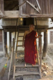 A monk and his shed Royalty Free Stock Image