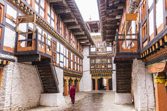 Monk in of jakar dzong Stock Images