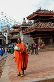 The monk in kathmandu durbar square in nepal Royalty Free Stock Photo