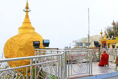 Monk In Kyaiktiyo Pagoda Or Golden Rock, Myanmar Royalty Free Stock Image