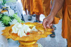 The monk lay wood flower on the site of cremation Stock Images