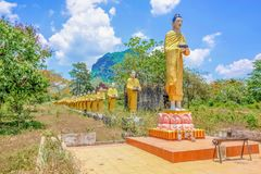 Monk In the line Statue in myanmar country side royalty free stock image