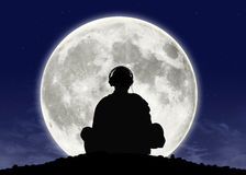 Monk listening zen music at the full moon. Silhouette of a buddhist monk in headphones in meditation posture with the full moon on the background Vector Illustration