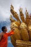 Monk looking serpent art . Stock Photos