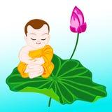 Monk on lotus Stock Photo