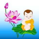 Monk on lotus Royalty Free Stock Photos