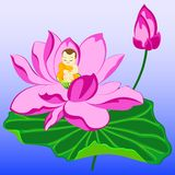 Monk on lotus Stock Images