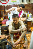 Monk makes traditional Yantra tattooing during Wai Kroo Master Day Ceremony Stock Image