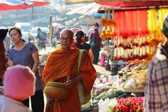 Monk at market. Pattaya Thailand Stock Photography