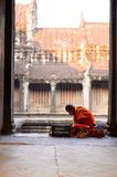 Buddhist monk at Angkor Wat temple Stock Images
