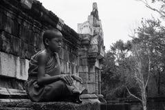 Monk boy meditate Royalty Free Stock Image