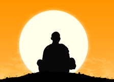 Monk in meditation at sunrise. Silhouette of a buddhist monk in meditation with the rising sun on the background Stock Illustration