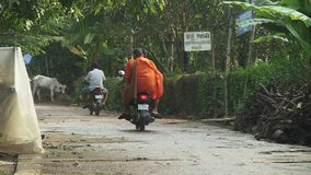 Monk,  moto taxi,  cambodia, southeast asia stock video