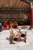 The monk and musicians at the festival in Hemis gompa (monastery), Ladakh, India Stock Image