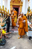 Monk ordained in Thai temple Royalty Free Stock Image