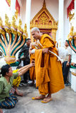 Monk ordained in Thai temple Stock Photo