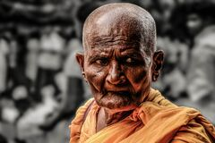 Monk, Path, Buddhist, Old, Religion Stock Photography