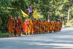 Monk on pilgrimage, Thailand Stock Image