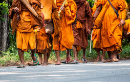 Monk on pilgrimage, Thailand Stock Images