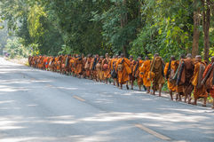 Monk on pilgrimage, Thailand Royalty Free Stock Images
