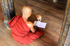 Monk Play With Cat In Shwe Yan Pyay Monastery, Nyaungshwe, Myanmar Stock Photo