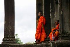 Monk posing in Angkor Wat Stock Photo